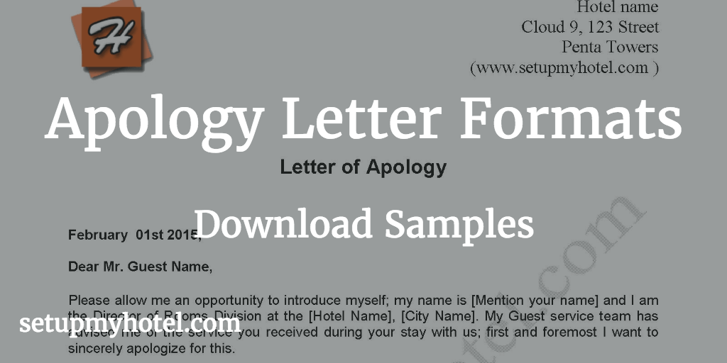 Apology letter sample send to hotel guests sample format of apology letter apologize letter used in hotels for service issue altavistaventures Images