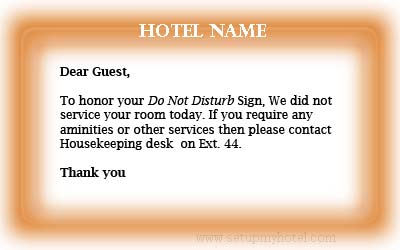 Sample DND Card copy hotels / Do Not disturb card sample hotels / Sample guest slip