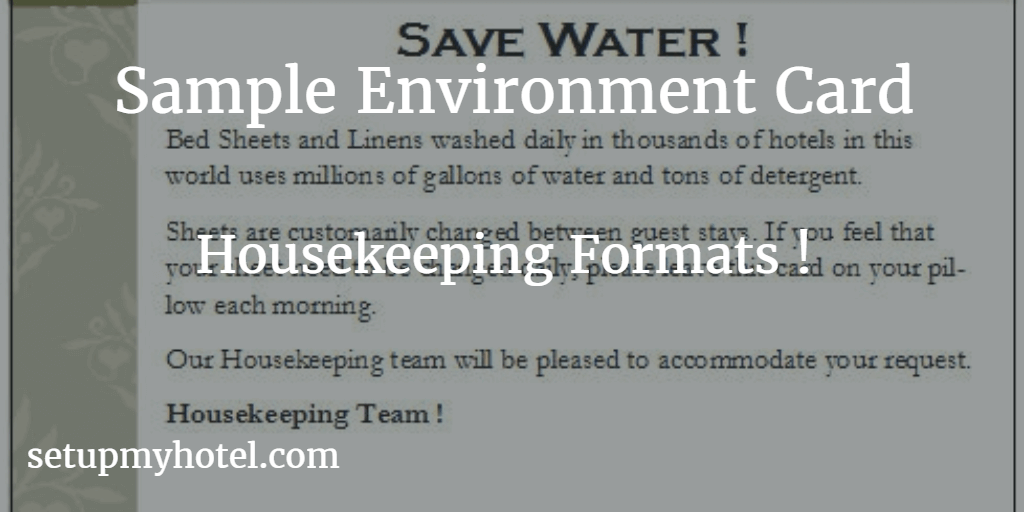 Environment Card Sample for hotel | Housekeeping save the water cards