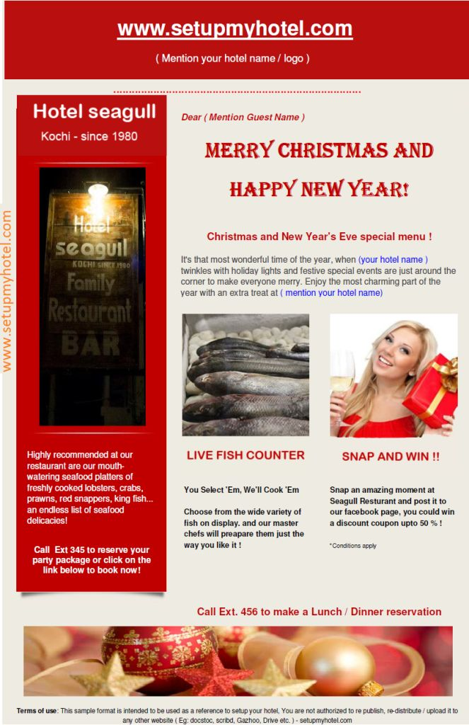 Guest Services Christmas and New Year Greetings for guests – Christmas Wishes Sample