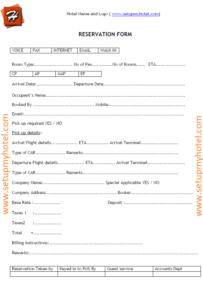 Reservation form sample hotels resorts accomodation for Accommodation booking form template