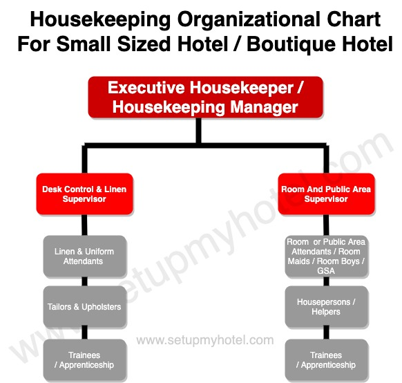 Housekeeping Department Organization Chart Hierarchy Chart for Small Size Hotel
