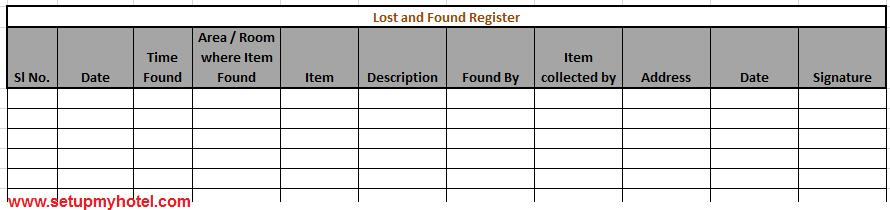 Sop housekeeping lost and found procedures lost and found register housekeeping altavistaventures Images