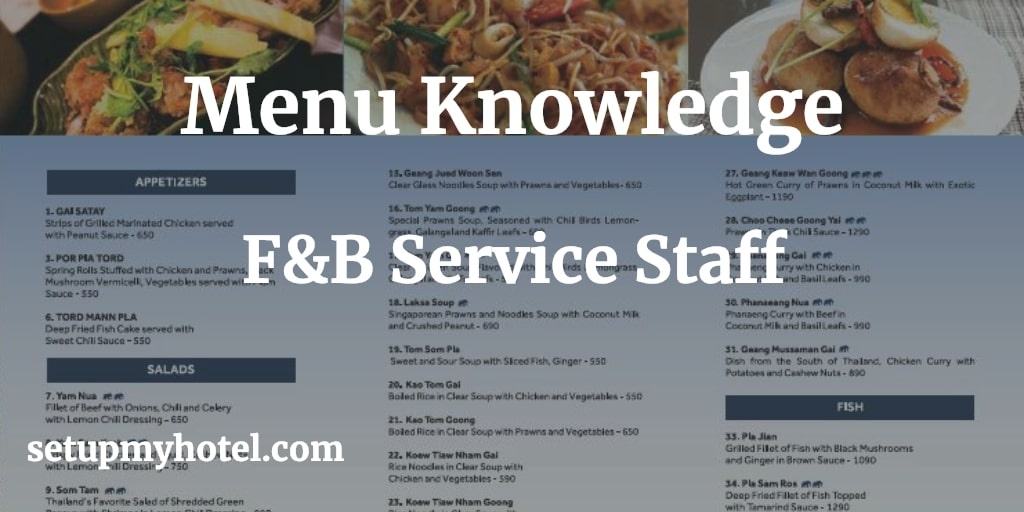 Menu Knowledge For Food and Beverage Service Staff, Food Menu, Beverage Menu, Bar Menu, F&B Staff Training