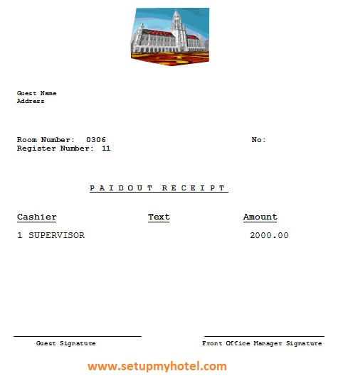 front office receipts paid outs voucher format