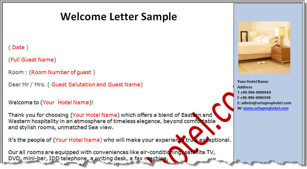 Welcome Letter for hotel guests – Welcome Letter