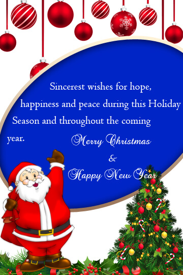 Christmas and New Year Greetings Sample for Hotel Guests