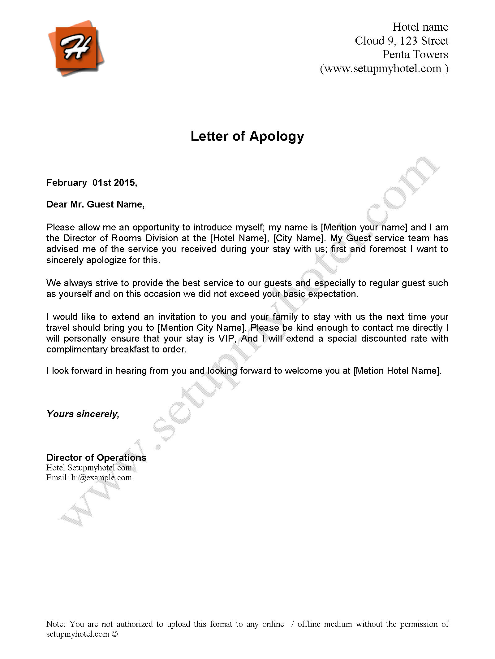 Apology Letter Sample Send to Hotel Guests