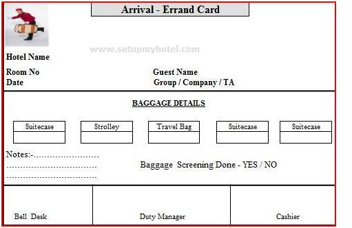 Bell Desk Errand Card Arrival And Departure Errand Card