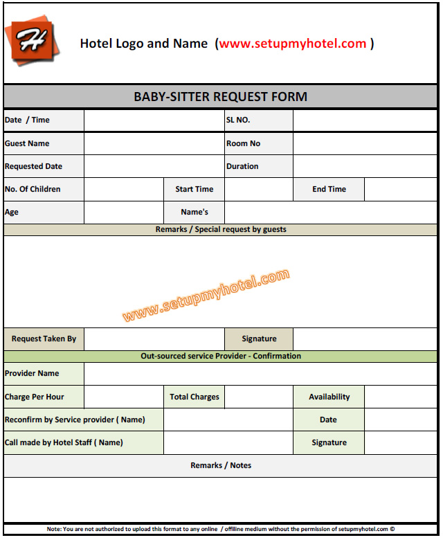 Babysitting Request form| Hotels | Housekeeping Baby sitting service