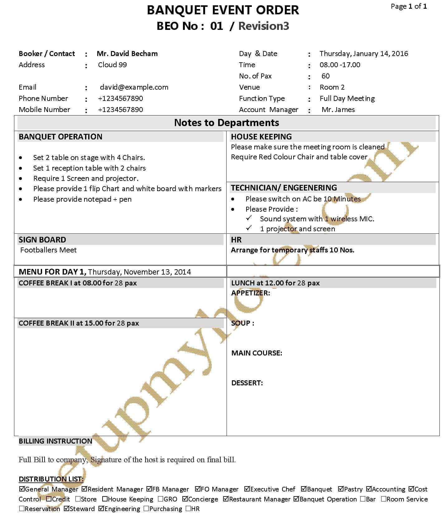 Banquet Function Plan Event Order Form FP BEO Sample – Event Order Form
