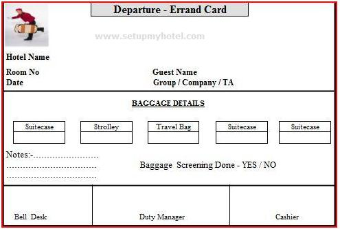 Bell desk errand card arrival and departure errand card departure errand card hotels guest check out baggage cards luggage card altavistaventures