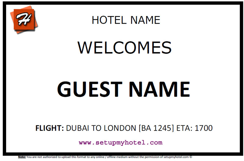 PLACARD | PAGING BOARD | AIRPORT WELCOME CARD