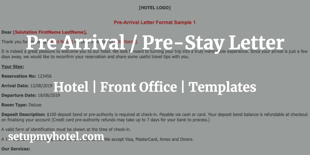 Pre Arrival Letter Sample | Pre Stay Letter Sample | Hotel Pre Arrival Letter Forma | See you soon letter format