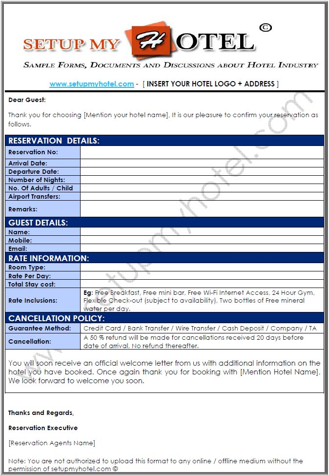 Reservation - Confirmation Letter for hotel bookings