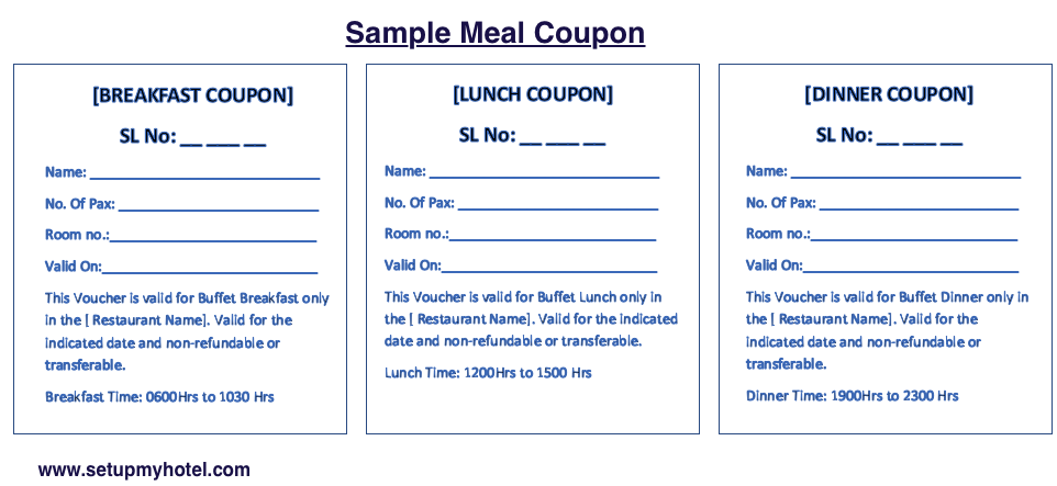 Breakfast Meal Coupon Sample | Lunch Meal Coupon, Dinner Meal Coupon, Meal Voucher Template