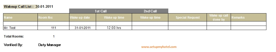 Wake up call report sample